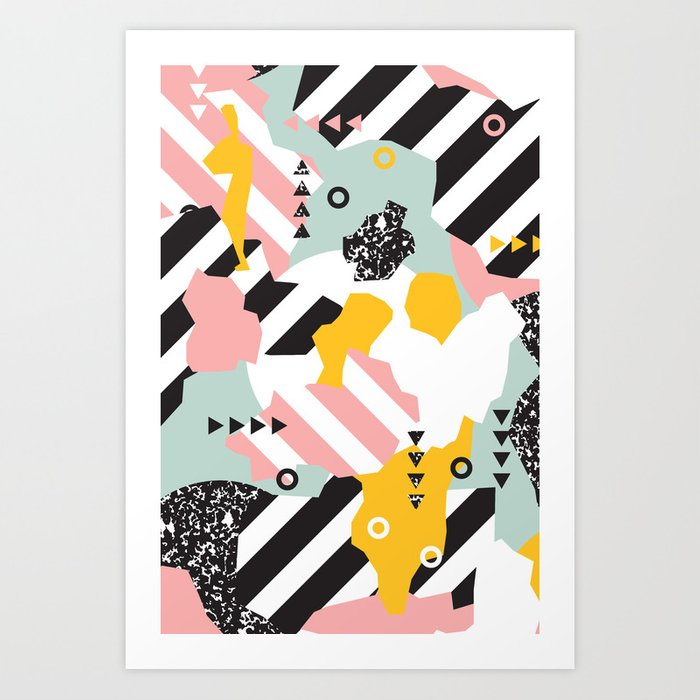 Spliced Geometric Memphis Pattern Geo Stripes Art Print by seasonofvictory