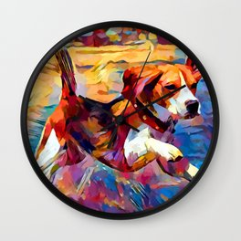 Beach Beagle Wall Clock