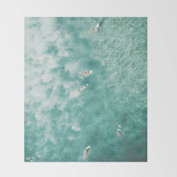 Surfing in the Ocean Throw Blanket