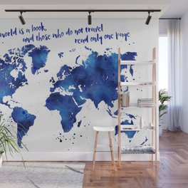 The world is a book, world map in shades of blue watercolor Wall Mural