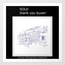 Sold: bonney drawing blue, small print Art Print