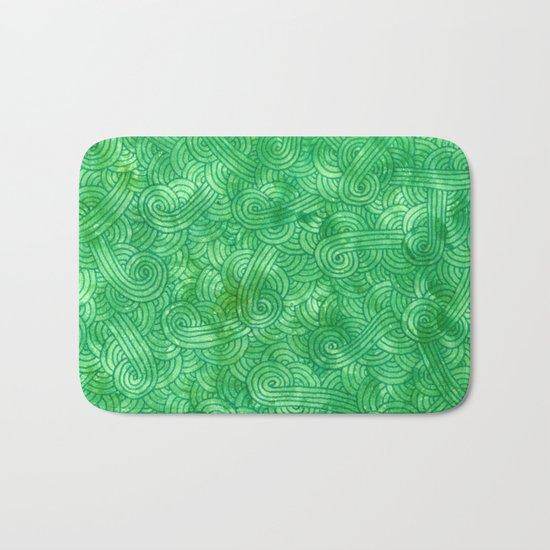 Bright green swirls doodles Bath Mat