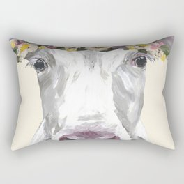 Cow With Flower Crown, Cute Cow Up Close Rectangular Pillow