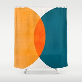 Mid Century Eclipse / Abstract Geometric Shower Curtain