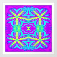 psychedelic Art Prints featuring psychedelic Floral Fuchsia Aqua by 2sweet4words Designs