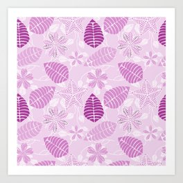 Whimsical Lavender and Purple Floral Leaf Pattern Art Print
