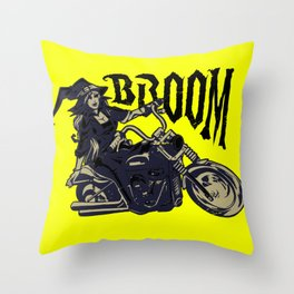Broom Witch Throw Pillow