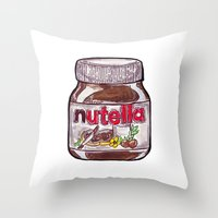 nutella Throw Pillows featuring Nutella by Snack Paintings