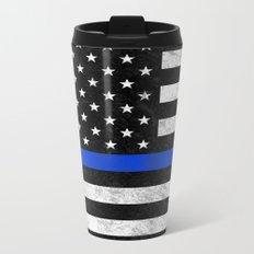 Thin Blue Line Flag 2 Metal Travel Mug