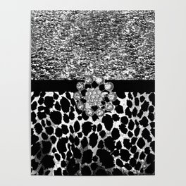 Animal Print Leopard Glam Silver and Black Diamond Poster