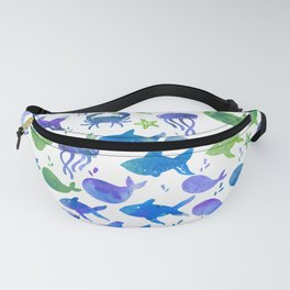 Blue Green Watercolor Fish Pattern Fanny Pack