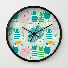 Modern tropical summer vibes Wall Clock