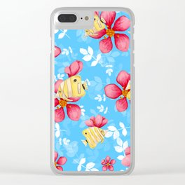 Floral Fish Clear iPhone Case