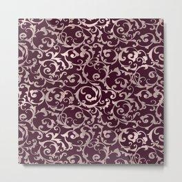 Raspberry & Rose Gold Storybook Swirl Metal Print