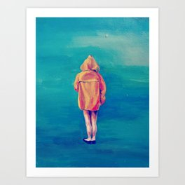 Girl in a Yellow Rain Coat Art Print