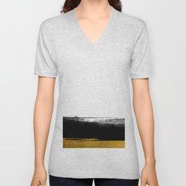 Black and Gold grunge stripes on clear white background - Stripe - Striped Unisex V-Neck