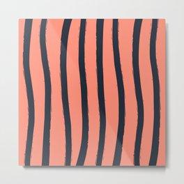 Paint Lines Vertical Salmon Metal Print