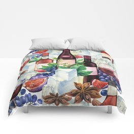 Watercolor wine glasses and bottles decorated with delicious food Comforters