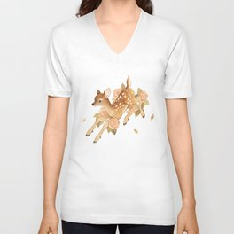 Hopping Fawn Unisex V-Neck