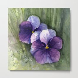 Purple Pansies Watercolor Flowers Painting Violet Floral Art Metal Print