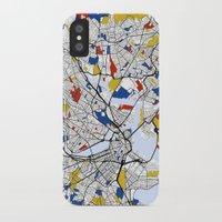 boston map iPhone & iPod Cases featuring Boston Mondrian map by Mondrian Maps