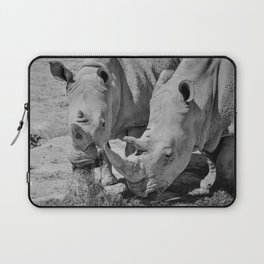 12,000pixel - 500dpi, High Quality Photograph - Rhinoceros Parent and Children - Black and white Laptop Sleeve