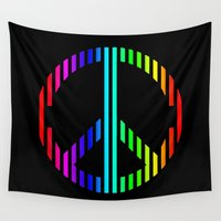 techno Wall Tapestries featuring Techno Peace by JG Designs