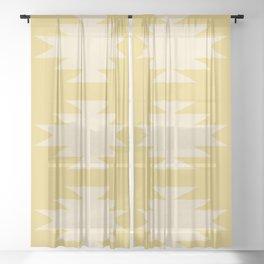 Geometric Southwestern Minimalism - Golden Yellow Sheer Curtain
