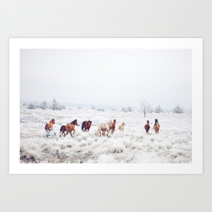 Sunday's Society6 | Winter wonderland horses in snow art print