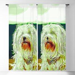 hairy havanese dog vector art Blackout Curtain
