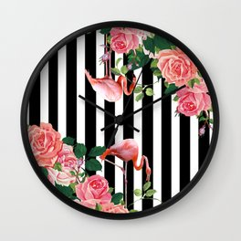 tropical flamingo Wall Clock
