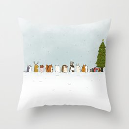 winter animals on the christmas tree Throw Pillow