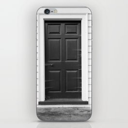 Door with Cobwebs in Black and White iPhone Skin