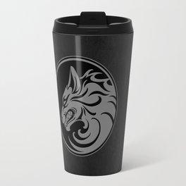 Gray and Black Growling Wolf Disc Travel Mug