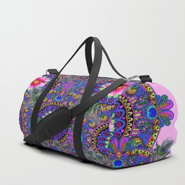 PINK & BLUE #2 PEACOCK MANDALAS WITH  FUCHSIA FLOWER ART Duffle Bag
