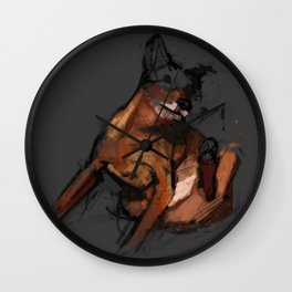 Dog scratching Wall Clock