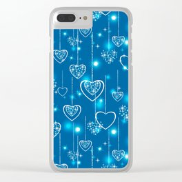 Bright openwork hearts on a light blue background. Clear iPhone Case