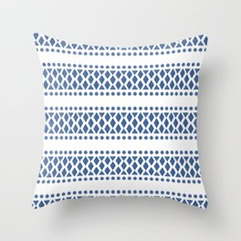 Classic blue and white tribal boho pattern Throw Pillow