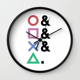 Minimalist Playstation Buttons Black (2K by Gingham Design) Wall Clock