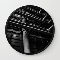industrial Wall Clocks featuring Industrial Pipes by Pati Designs & Photography
