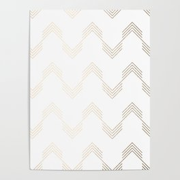Simply Deconstructed Chevron White Gold Sands on White Poster