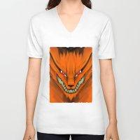 kakashi V-neck T-shirts featuring Kyubi Nine Tails by Inara