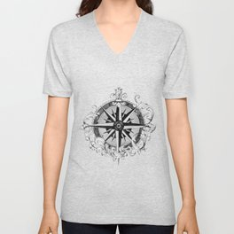 Black and White Scrolling Compass Rose Unisex V-Neck