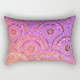 Pink Purple and Gold Sparkling Faux Glitter Mermaid Circles Rectangular Pillow