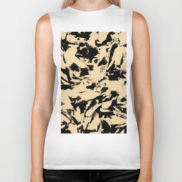 Beige Yellow Black Abstract Military Camouflage Biker Tank