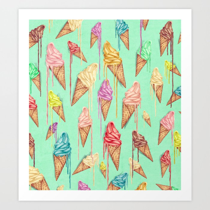 melted ice creams Art Print