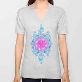 Pink, Purple and Turquoise Super Boho Doodle Medallions Unisex V-Neck