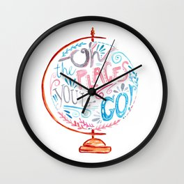 Oh The Places You'll Go - Vintage Globe Typography Pink Blue Grey Wall Clock
