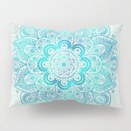 Turquoise Lace Mandala Pillow Sham