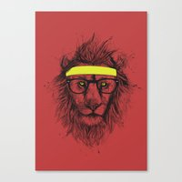 hipster lion Canvas Prints featuring hipster lion (red) by Balazs Solti